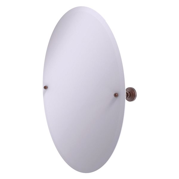 Allied Brass Waverly Place 21-in Antique Copper Oval Frameless Bathroom Mirror