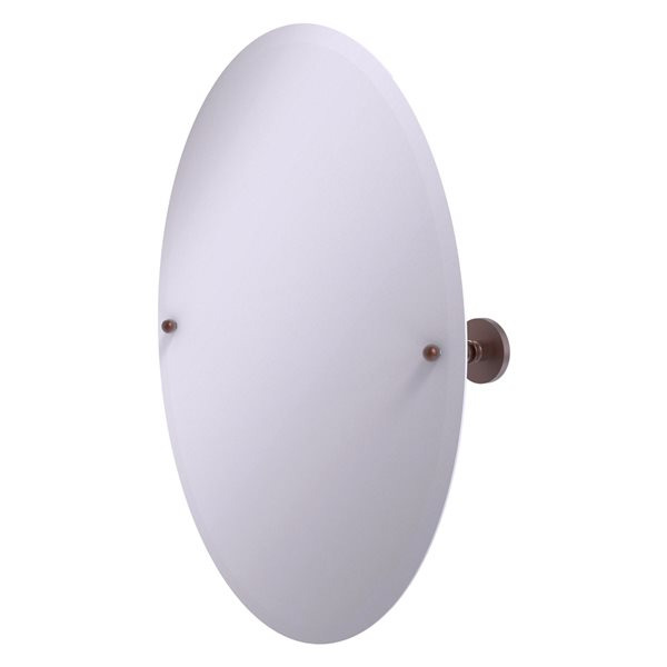 Allied Brass Prestige Skyline 29-in Antique Copper Oval Frameless Bathroom Mirror
