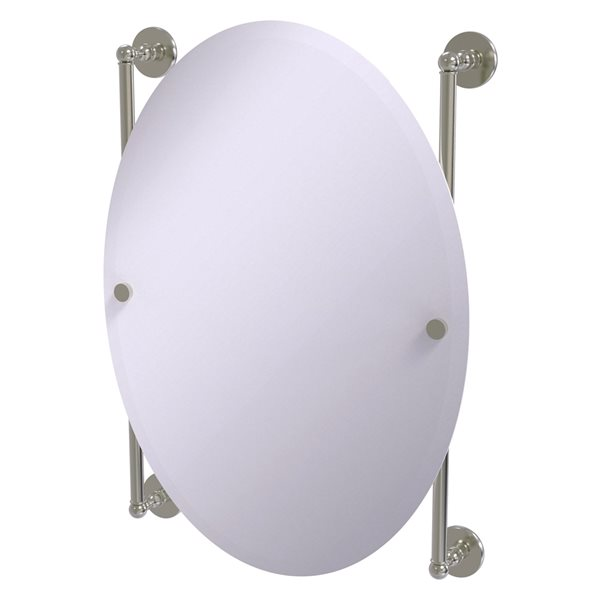 Allied Brass Prestige Skyline 21-in Satin Nickel Oval Frameless Bathroom Mirror