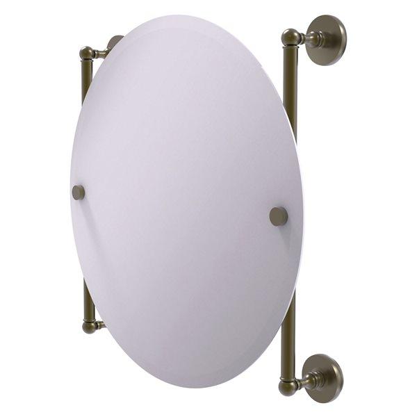 Allied Brass Prestige Skyline 22-in Round Frameless Bathroom Mirror in Antique Brass
