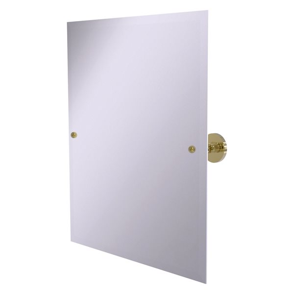 Allied Brass Prestige Skyline 26-in Rectangular Frameless Bathroom Mirror in Unlacquered Brass