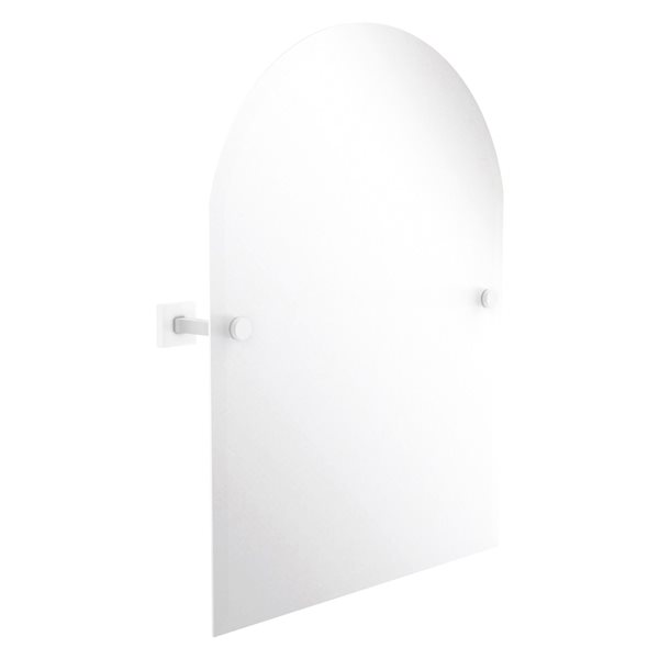 Allied Brass Montero 21-in Matte White Arch Frameless Bathroom Mirror