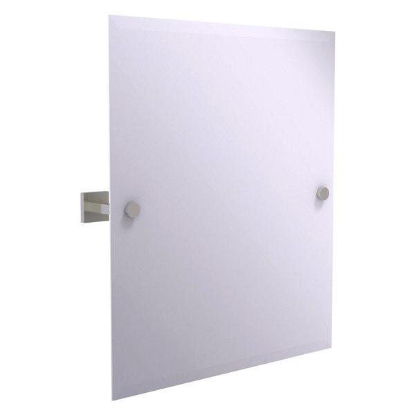 Allied Brass Montero 21-in Satin Nickel Rectangular Frameless Bathroom Mirror