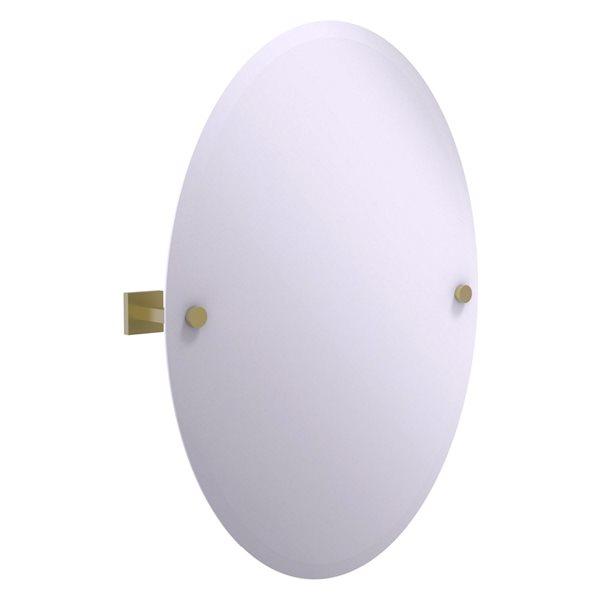Allied Brass Montero 21.4-in Satin Brass Oval Frameless Bathroom Mirror