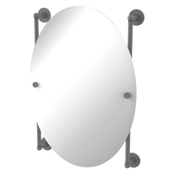 Allied Brass Prestige Skyline 21-in Matte Grey Oval Frameless Bathroom Mirror