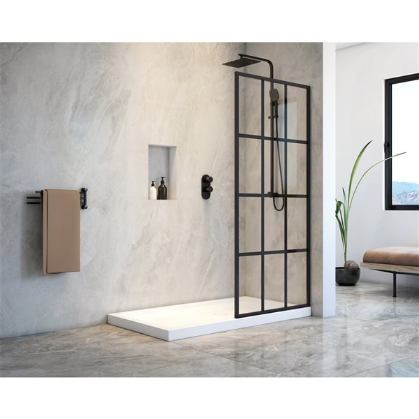 A&E Bath & Shower Taylor Matte Black 60-in x 32-in x 75-in Walk-in Shower with Base - 2-Piece