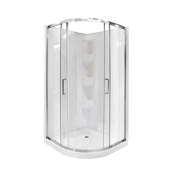 Ensemble de douche à angle rond Limon par A&E Bath & Shower, 76po x 38po x 38po, blanc, 3 pièces
