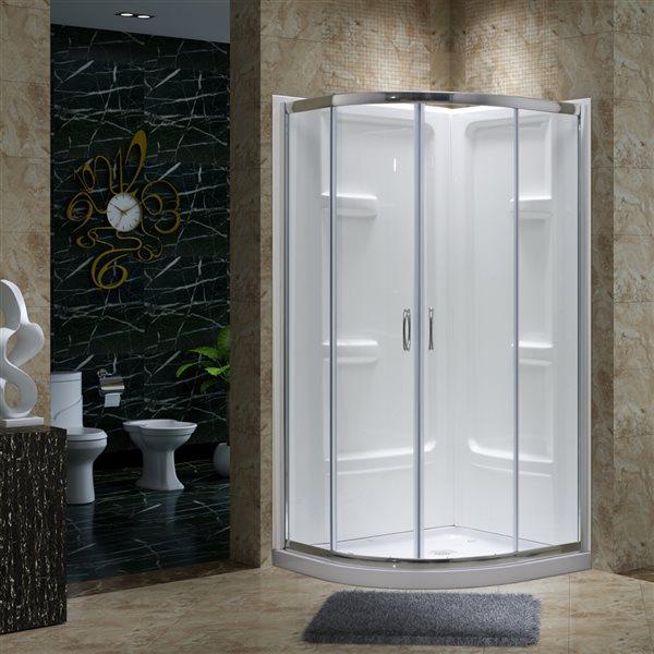 Ensemble de douche à angle rond Jacob par A&E Bath & Shower, 72po x 38po x 38po, blanc, 3 pièces