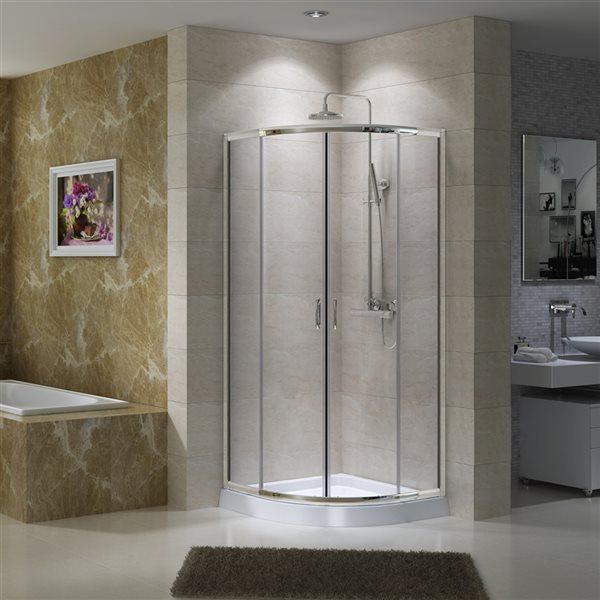 A&E Bath & Shower Jacob White72-in x40-in x40-in Neo-Round Corner Shower Kit - 3-Piece