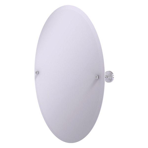 Allied Brass Dottingham 29-in Polished Chrome Oval Frameless Bathroom Mirror