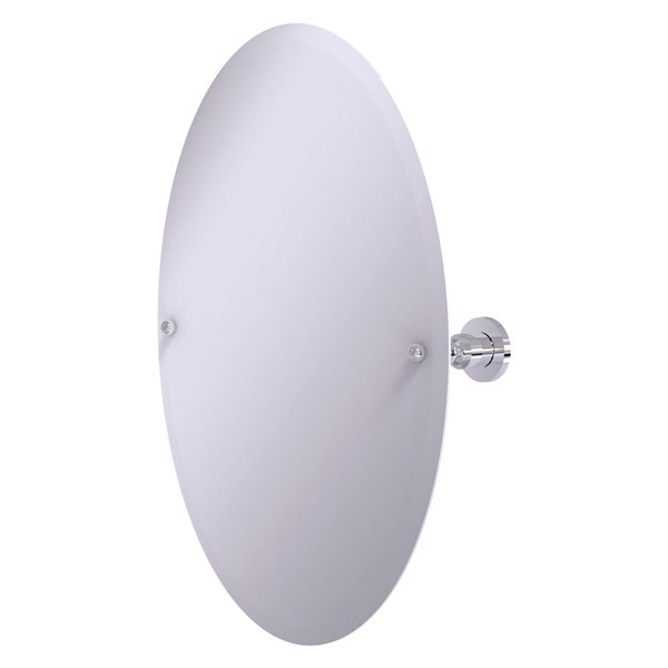 Allied Brass Astor Place 29-in Polished Chrome Oval Frameless Bathroom Mirror