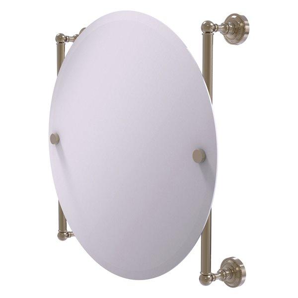 Allied Brass Dottingham 22-in Antique Pewter Finish Round Frameless Bathroom Mirror
