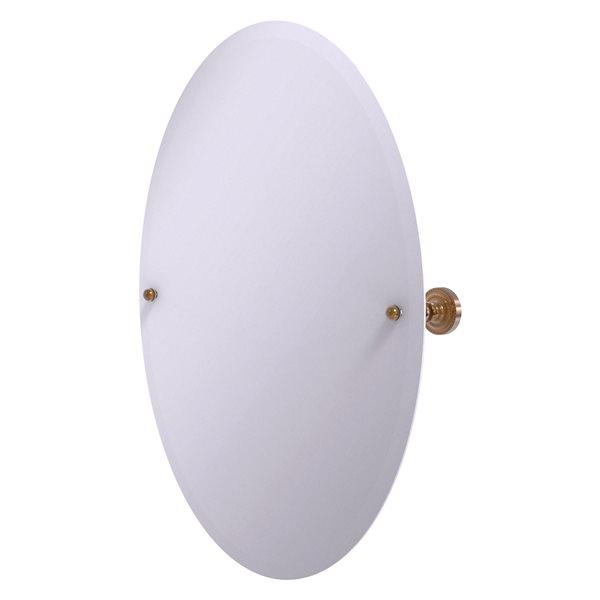 Allied Brass Dottingham 29-in Brushed Bronze Oval Frameless Bathroom Mirror