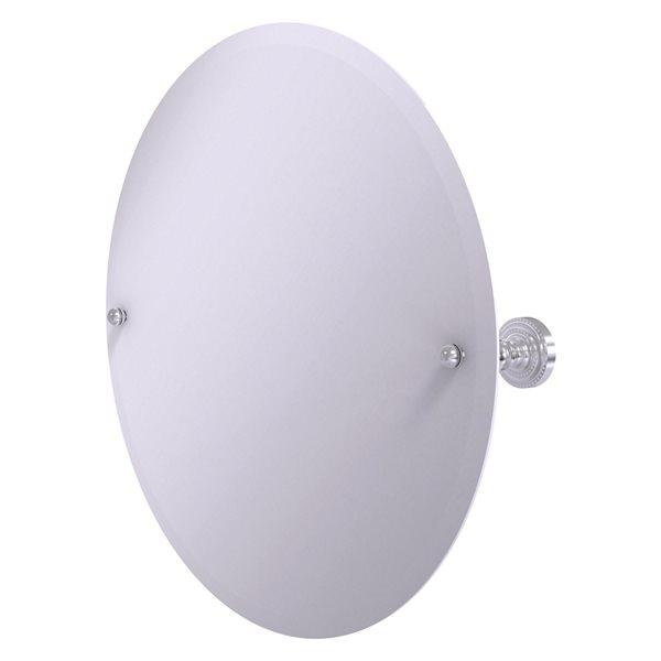 Allied Brass Dottingham 22-in Satin Chrome Round Frameless Bathroom Mirror