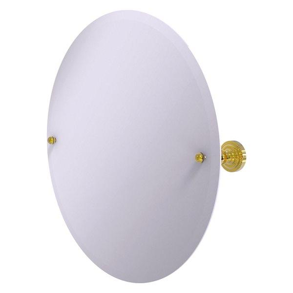 Allied Brass Dottingham 22-in Polished Brass Round Frameless Bathroom Mirror