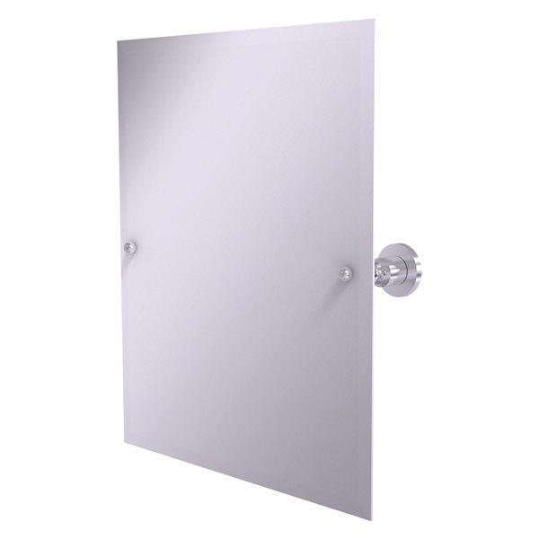 Allied Brass Astor Place 26-in Satin Chrome Rectangular Frameless Bathroom Mirror