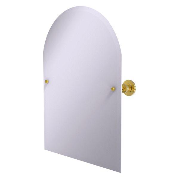Allied Brass Astor Place 29-in Polished Brass Arch Frameless Bathroom Mirror