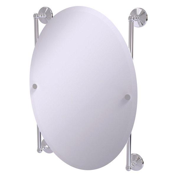 Allied Brass Monte Carlo 21-in Polished Chrome Oval Frameless Bathroom Mirror