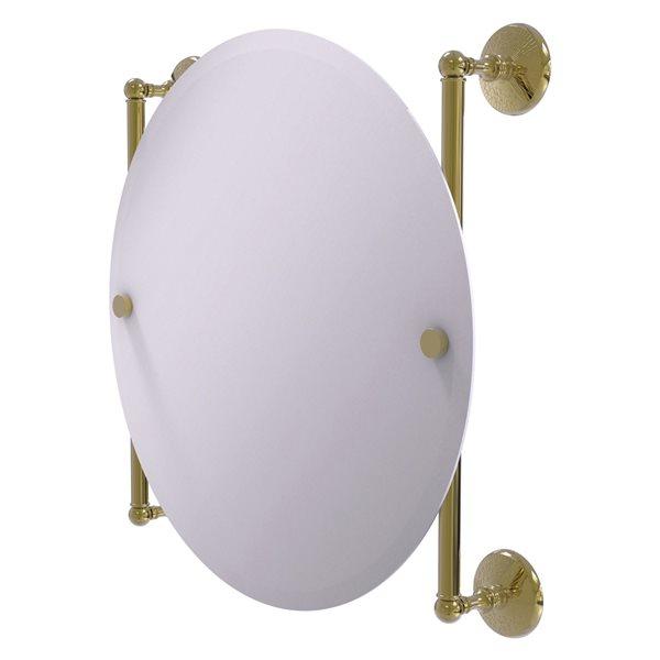 Allied Brass Monte Carlo 22-in Unlacquered Brass Round Frameless Bathroom Mirror