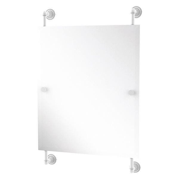 Allied Brass Dottingham 21-in Matte White Finish Rectangular Frameless Bathroom Mirror