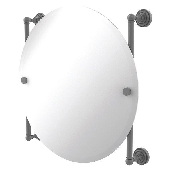 Allied Brass Dottingham 22-in Matte Grey Finish Round Frameless Bathroom Mirror