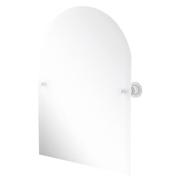 Allied Brass Astor Place 29-in Matte White Arch Frameless Bathroom Mirror
