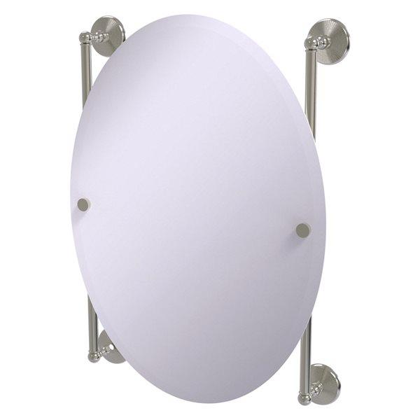 Allied Brass Monte Carlo 21-in Satin Nickel Oval Frameless Bathroom Mirror
