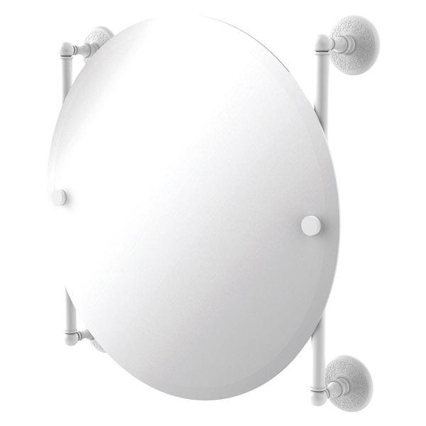 Allied Brass Monte Carlo 22-in Matte White Round Frameless Bathroom Mirror