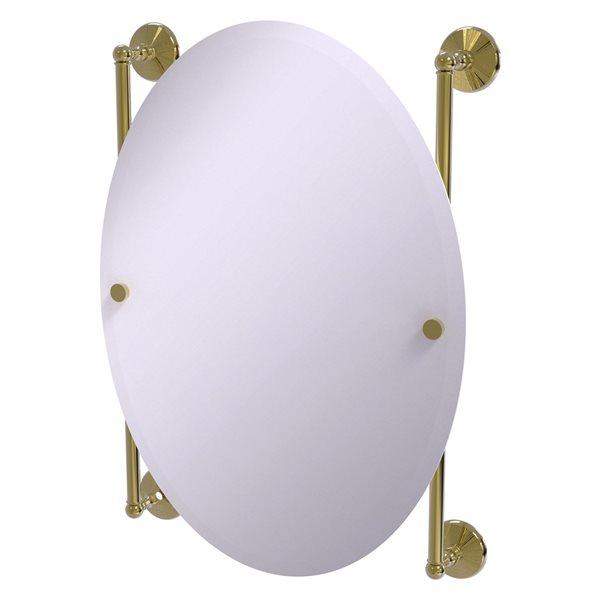 Allied Brass Monte Carlo 21-in Unlacquered Brass Oval Frameless Bathroom Mirror