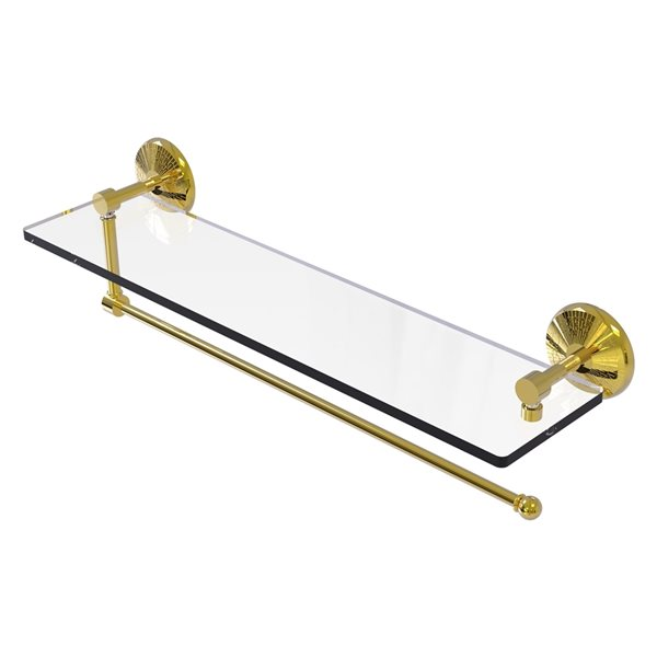 Allied Brass 22-in Metal Wall Mounted Polished Brass Paper Towel Holder with Glass Shelf