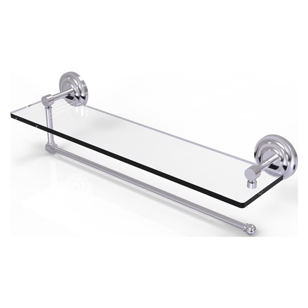 Allied Brass 22-in Metal Wall Mounted Paper Towel Holder with Glass Shelf in Satin Chrome