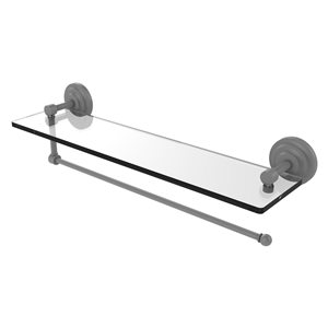 Allied Brass 22-in Metal Wall Mounted Paper Towel Holder with Glass Shelf in Matte Grey