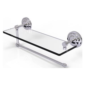 Allied Brass 16-in Metal Wall Mounted Paper Towel Holder with Glass Shelf in Polished Chrome