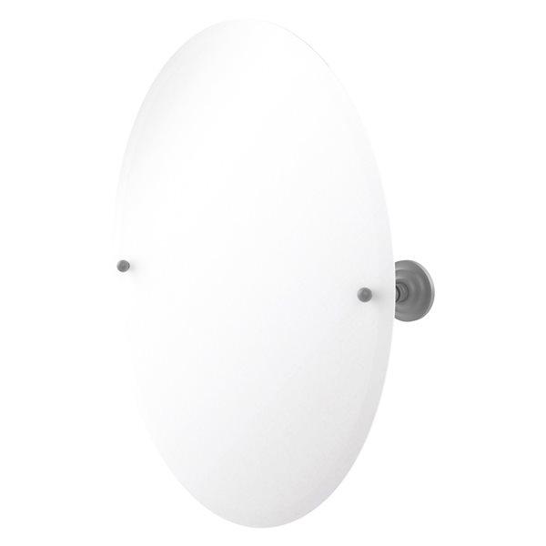 Allied Brass Prestige Que New 26-in Matte Grey Oval Frameless Bathroom Mirror