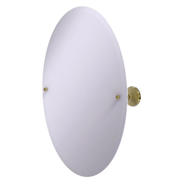 Allied Brass Prestige Monte Carlo 29-in Unlacquered Brass Oval Frameless Bathroom Mirror