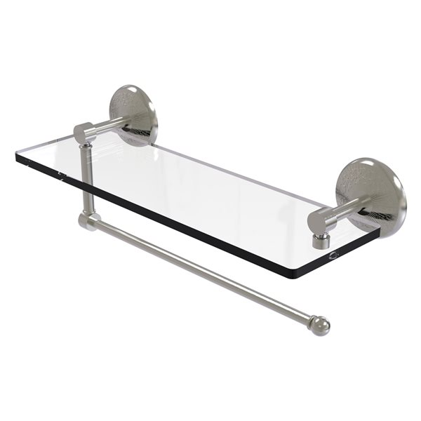 Allied Brass 16-in Metal Wall Mounted Satin Nickel Paper Towel Holder with Glass Shelf