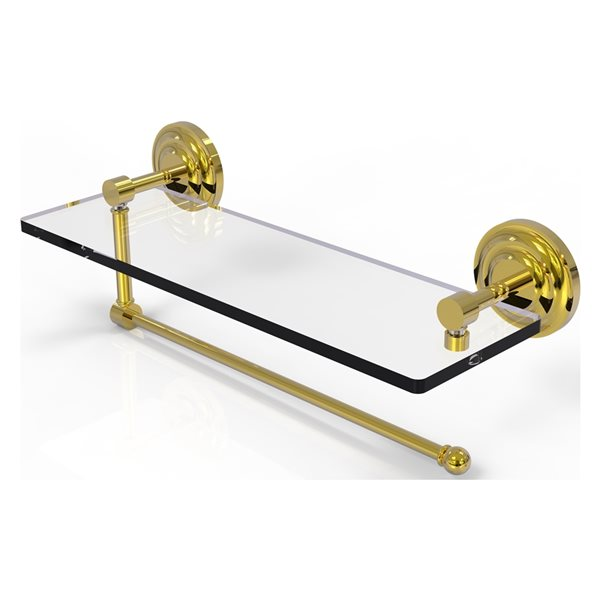 Allied Brass 16-in Metal Wall Mounted Paper Towel Holder with Glass Shelf in Polished Brass