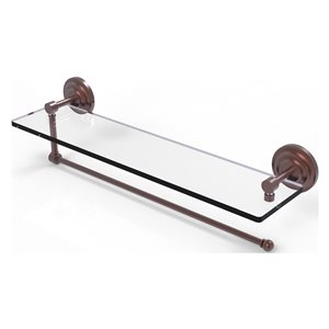 Allied Brass 22-in Metal Wall Mounted Paper Towel Holder with Glass Shelf in Antique Copper