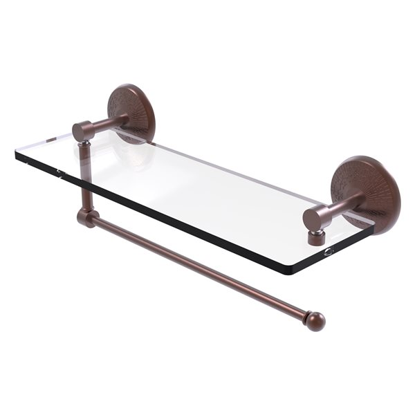 Allied Brass 16-in Metal Wall Mounted Antique Copper Paper Towel Holder with Glass Shelf