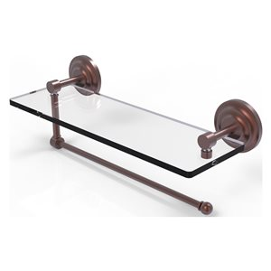 Allied Brass 16-in Metal Wall Mounted Paper Towel Holder with Glass Shelf in Antique Copper