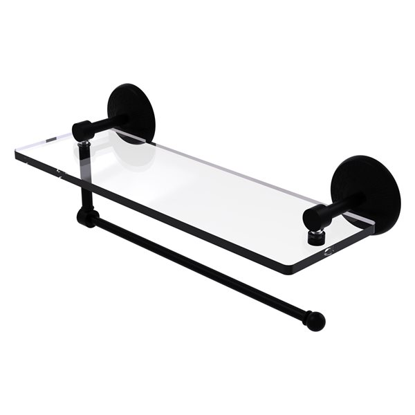 Allied Brass 16-in Metal Wall Mounted Matte Black Paper Towel Holder with Glass Shelf
