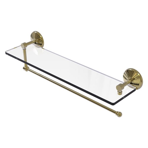 Allied Brass 22-in Metal Wall Mounted Unlacquered Brass Paper Towel Holder with Glass Shelf