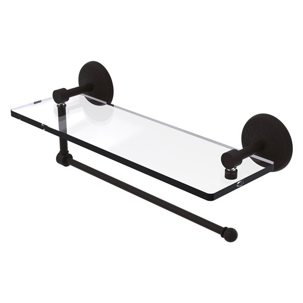 Allied Brass 16-in Metal Wall Mounted Oil Rubbed Bronze Paper Towel Holder with Glass Shelf