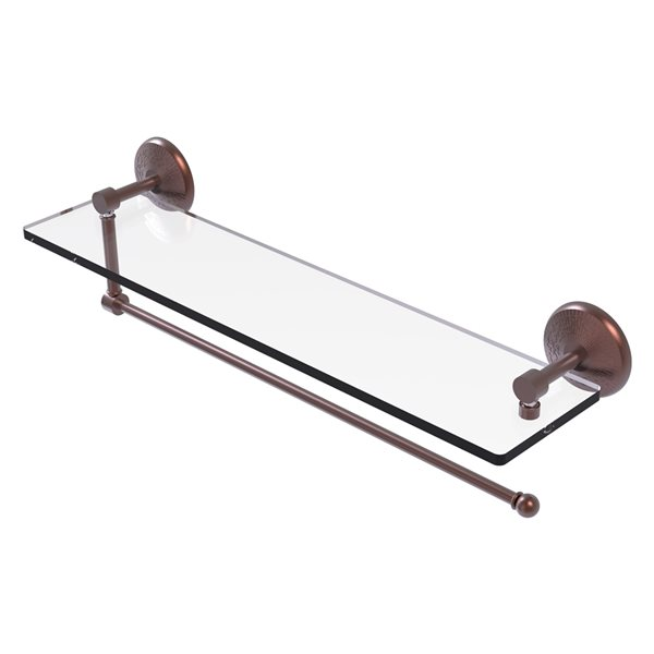 Allied Brass 22-in Metal Wall Mounted Antique Copper Paper Towel Holder with Glass Shelf