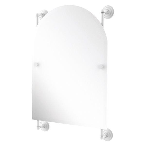 Allied Brass Prestige Que New 21-in Matte White Arch Frameless Bathroom Mirror