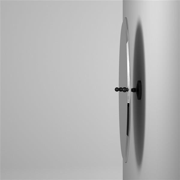Allied Brass Prestige Que New 26-in Matte Black Oval Frameless Bathroom Mirror
