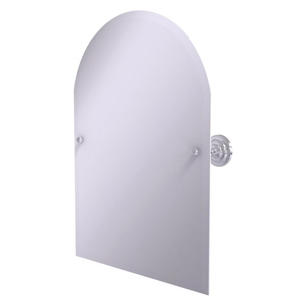 Allied Brass Prestige Que New 21-in Arch Frameless Bathroom Mirror in Satin Chrome