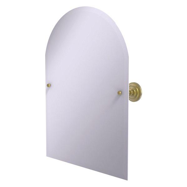 Allied Brass Prestige Que New 21-in Arch Frameless Bathroom Mirror in Satin Brass