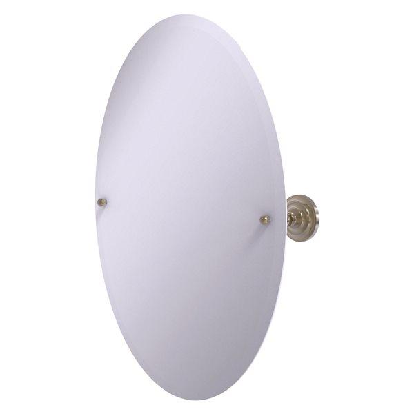 Allied Brass Prestige Que New 26-in Antique Pewter Oval Frameless Bathroom Mirror
