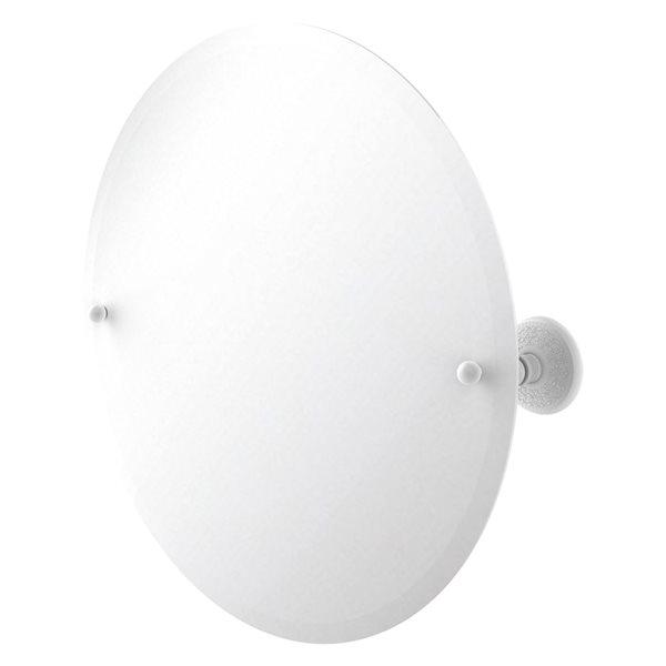 Allied Brass Prestige Monte Carlo 22-in Matte White Round Frameless Bathroom Mirror
